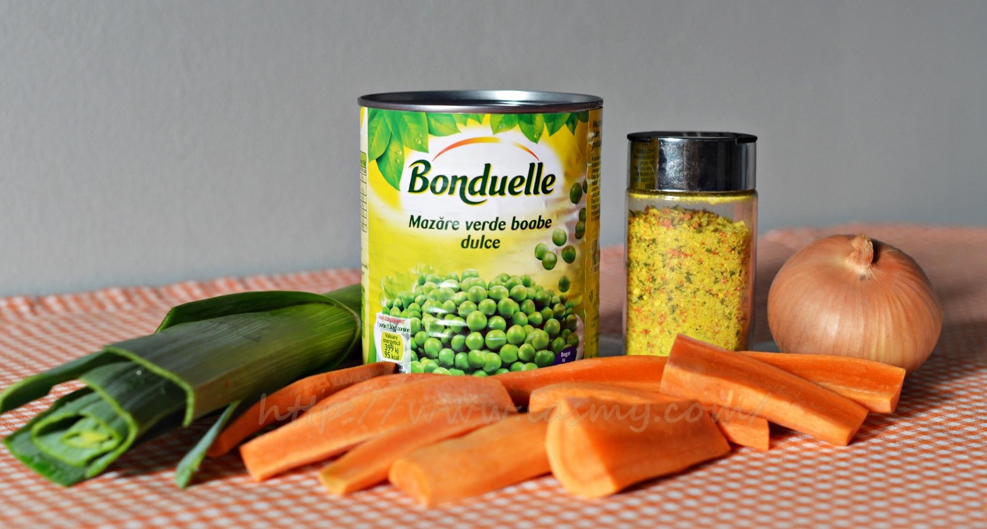 ingrediente-mancare de mazare cu morcovi